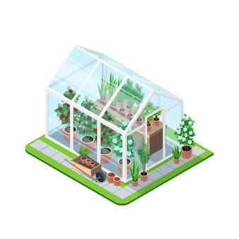 Composición isométrica del invernadero