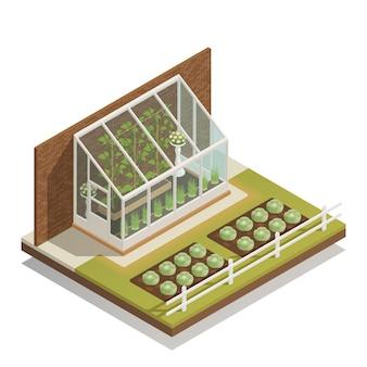 Composición isométrica de invernadero