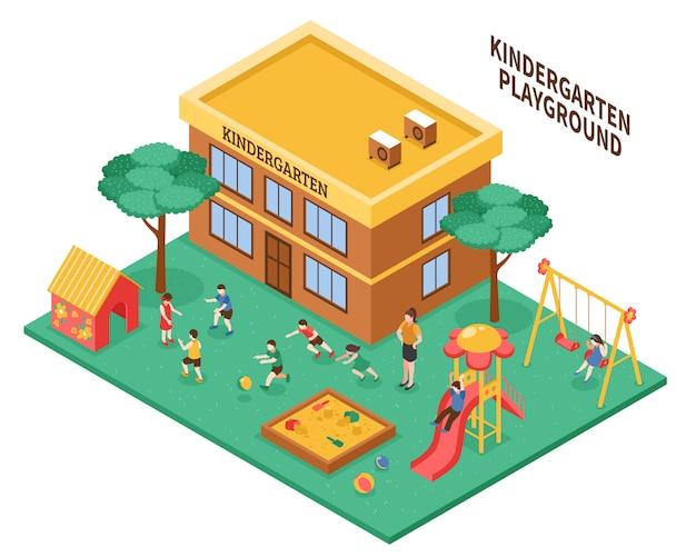 Composición isométrica de jardín de infantes