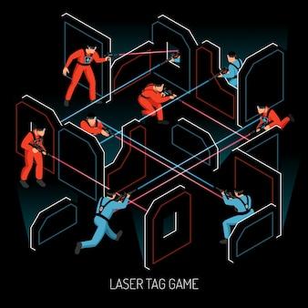 Composición isométrica del juego de equipo de acción real para niños con etiqueta láser con jugadores disparando objetivos sensibles al infrarrojo ilustración vectorial