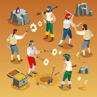 Composición isométrica del juego de piratas con hombres durante la pelea en el fondo de arena con ilustración de vector de agujeros de bala