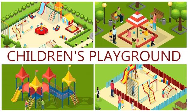 Composición isométrica de juegos infantiles con padres carruseles para niños diapositivas de tubo columpios balancín caja de arena barras de colores bancos