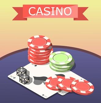 Composición isométrica de juegos de mesa de casino