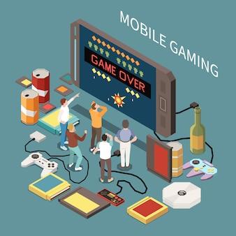 Composición isométrica de jugadores de juegos con imagen de teléfono inteligente, personajes pequeños de personas y joysticks, cartuchos, discos compactos