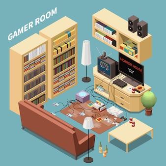 Composición isométrica de los jugadores de juegos con vista interior de la sala de estar con bastidores de muebles y consolas