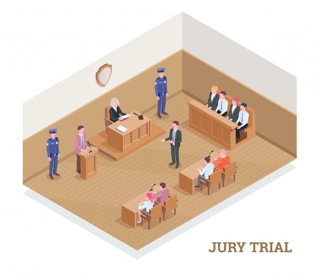 Composición isométrica de justicia judicial con texto y vista de la sala del tribunal durante la sesión con ilustración de personajes humanos