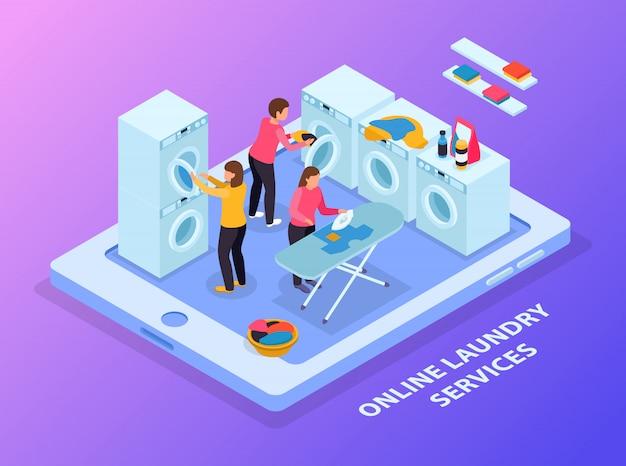 Composición isométrica del lavadero con imagen conceptual de tableta y equipo de lavandería con personas en pantalla táctil