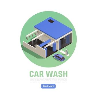 Composición isométrica del lavado de autos con accionamiento automático.