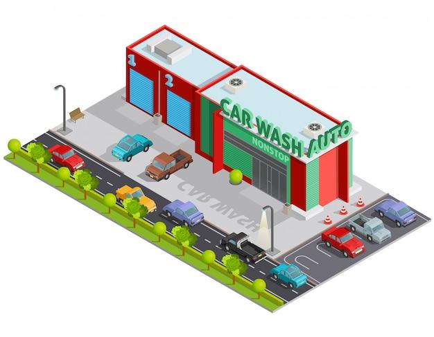 Composición isométrica de lavado de autos