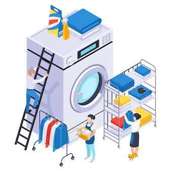 Composición isométrica de lavado de ropa con ilustración de pequeños personajes humanos