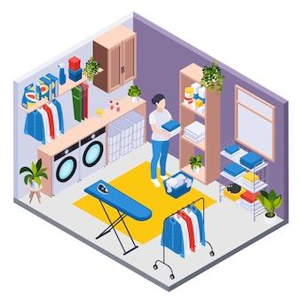 Composición isométrica de lavado de ropa con vista de la habitación con detergentes para lavadoras y personaje de criada femenina