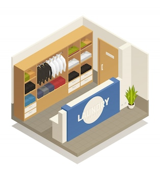 Composición isométrica de lavandería