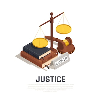 Composición isométrica de la ley con la biblia del libro de códigos legales del mazo y símbolo de la escala de la justicia