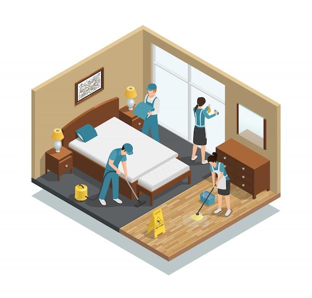 Composición isométrica de limpieza de la casa