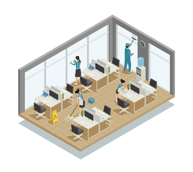 Composición isométrica de limpieza de oficinas