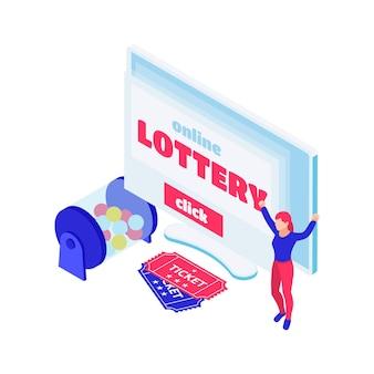 Composición isométrica de lotería en línea con boletos de bolas de bingo colorfil y personaje feliz