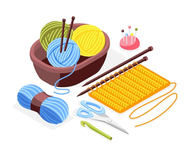 Composición isométrica de manualidades de hobby con agujas de tejer, tijeras, pieza de ropa tejida y ovillos en la canasta