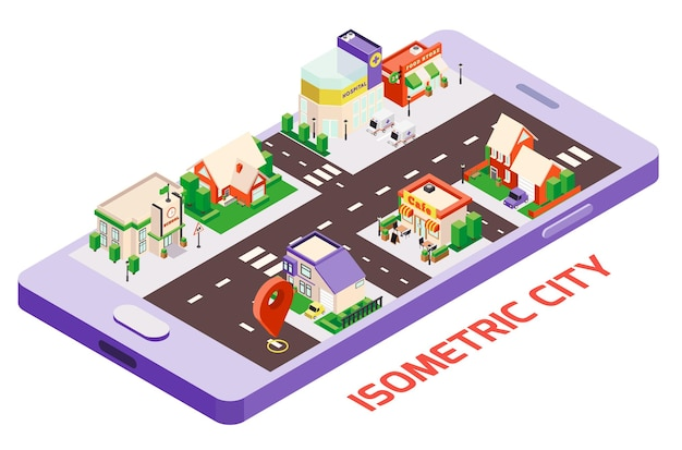 Composición isométrica del mapa del teléfono inteligente de los edificios de la ciudad con la imagen del dispositivo y el bloque de la ciudad con el letrero de ubicación