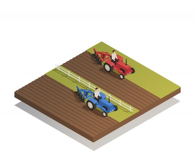 Composición isométrica de maquinaria agrícola agrícola