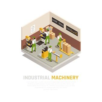 Composición isométrica de maquinaria industrial con símbolos de trabajadores de fábrica