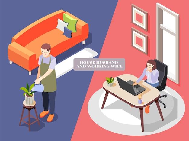 Composición isométrica con marido en delantal regando flores y mujer que trabaja en la oficina 3d aislado