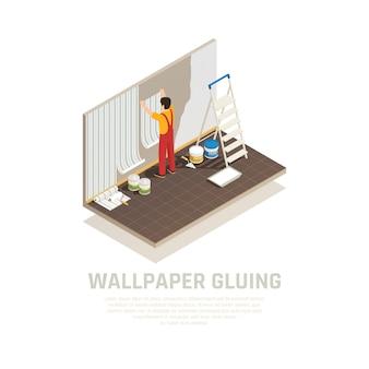 Composición isométrica de materiales de construcción con texto editable y carácter humano del trabajador que cubre la pared con papel ilustración vectorial