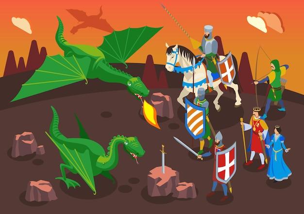 Composición isométrica medieval con personajes humanos de guerreros y caballeros con dragones verdes y paisajes de fantasía.