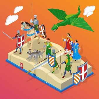 Composición isométrica medieval con personajes de personas pequeñas de guerreros fríos caballeros y dragones con gran libro
