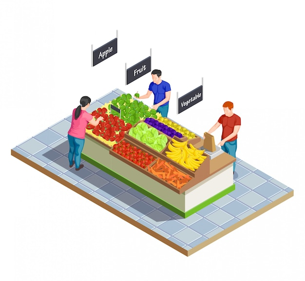 Composición isométrica del mercado de alimentos