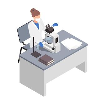 Composición isométrica de microbiología biotecnología con personaje femenino de médico que realiza investigaciones con microscopio
