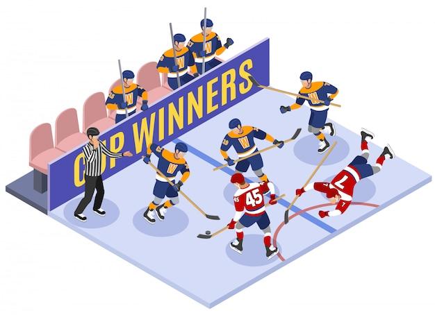 Composición isométrica del momento del juego de los ganadores de la copa de hockey sobre hielo con el árbitro de violación de la regla que evalúa la penalización