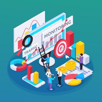 Composición isométrica de monitoreo seo con símbolos de idea y objetivo