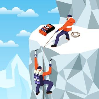 Composición isométrica de montañismo con paisaje de montaña al aire libre, montaña de hielo y dos escaladores que sostienen la ilustración de la cuerda