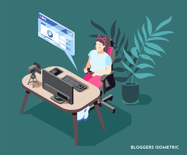 Composición isométrica con mujer blogger grabando video con joystick en manos 3d