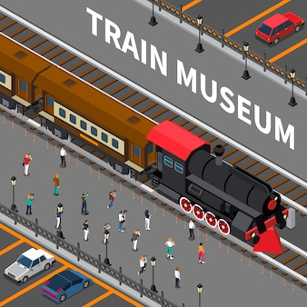 Composición isométrica del museo del tren