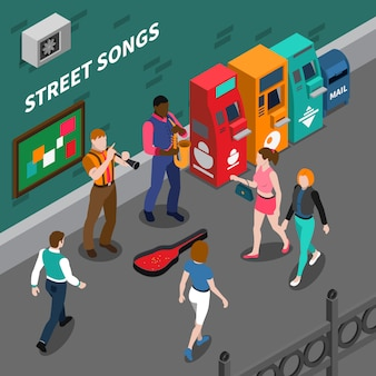 Composición isométrica con músicos callejeros tocando instrumentos musicales ilustración vectorial 3d