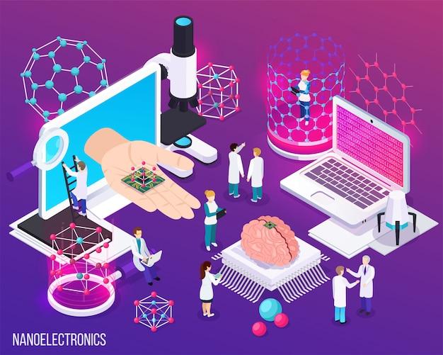 La composición isométrica de nanoelectrónica con iconos demostró logros científicos en microbiología y medicina moderna.