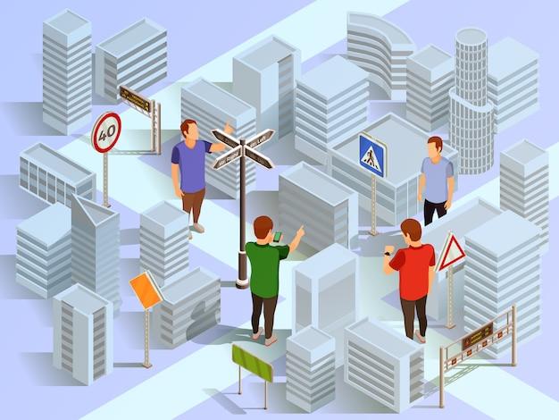 Composición isométrica de navegación de la ciudad