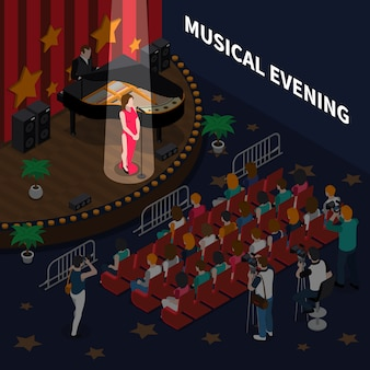 Composición isométrica de la noche musical con la cantante en escena interpretando una canción romántica para acompañar al piano