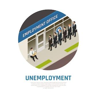 Composición isométrica de la oficina de empleo