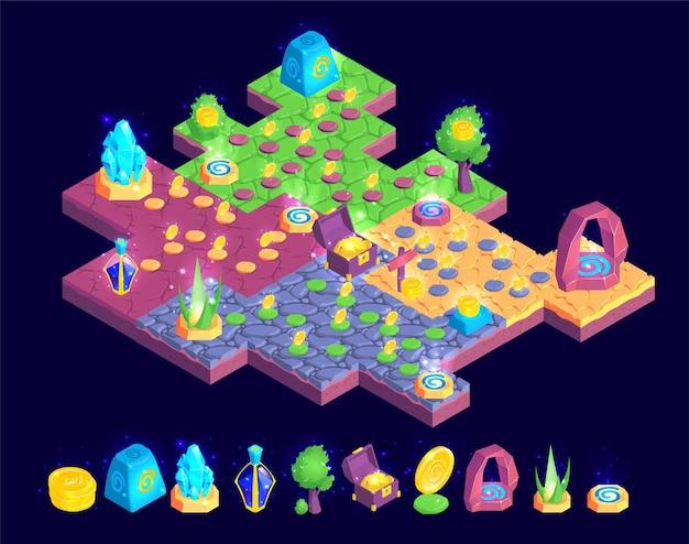 Composición isométrica del paisaje del juego con una pieza de colorido mapa de juegos con árboles, piedras y cofres del tesoro
