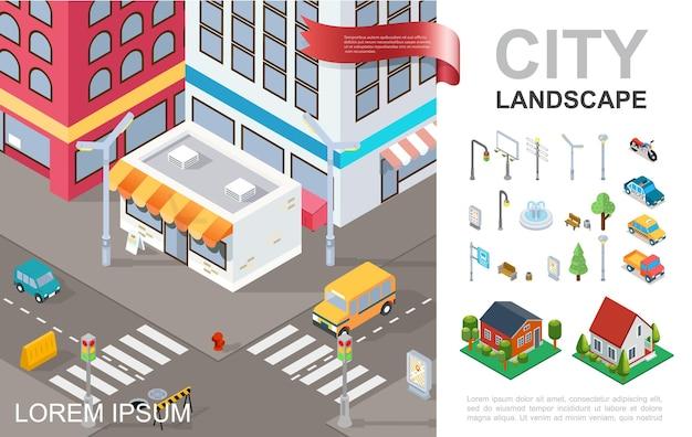 Composición isométrica del paisaje urbano con edificios modernos, vehículos de cruce, fuente, árboles, postes, bancos, tráfico ligero, casas suburbanas, ilustración