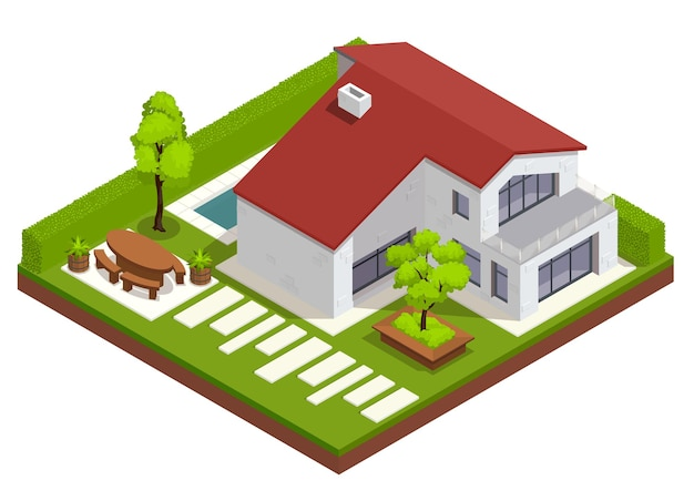 Composición isométrica del paisaje con vista al patio residencial con casa y patio trasero con decoraciones modernas