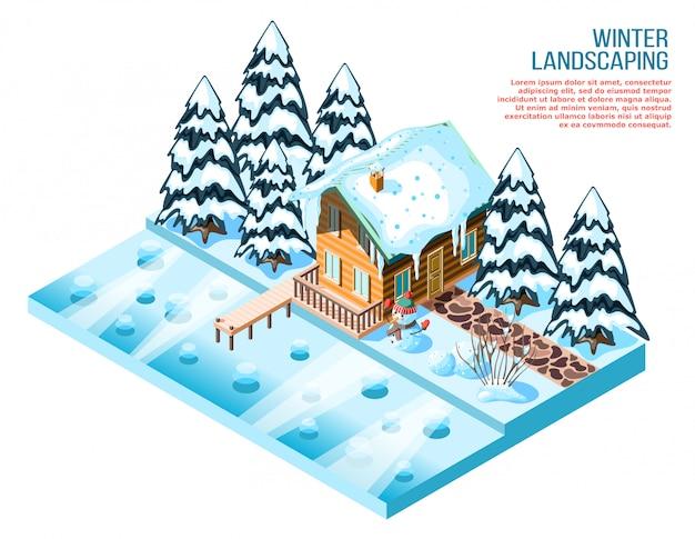 Composición isométrica de paisajismo de invierno con piceas nevadas de casa de madera y decoraciones cerca del lago congelado