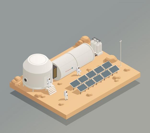 Composición isométrica de paneles solares de astronautas
