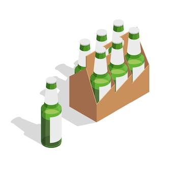 Composición isométrica del paquete de cerveza