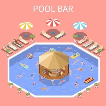 Composición isométrica del parque acuático del parque acuático con texto y paisajes abiertos de la piscina, gente y bar cubierto