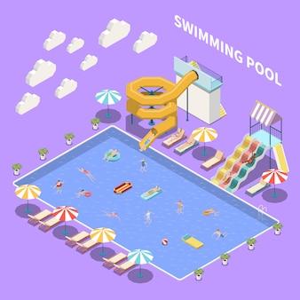 Composición isométrica del parque acuático con vista a la piscina abierta con sombrillas, tumbonas y toboganes