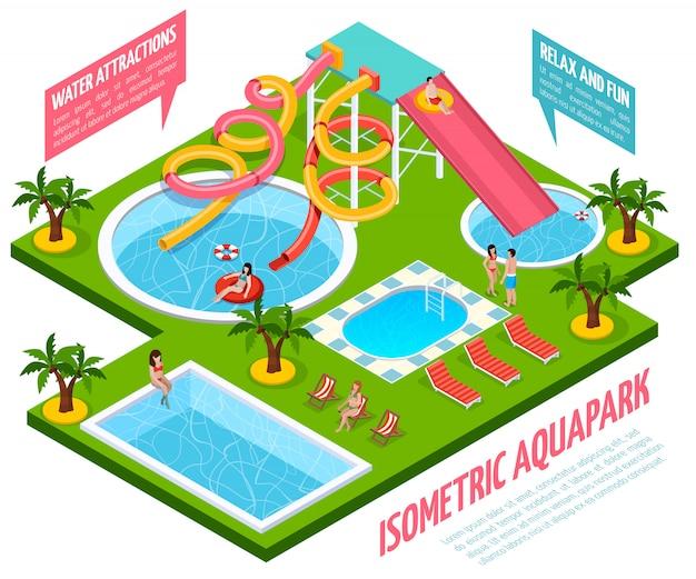 Composición isométrica del parque acuático