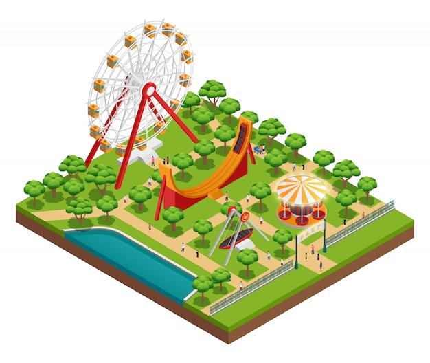 Composición isométrica del parque de atracciones con carrusel.